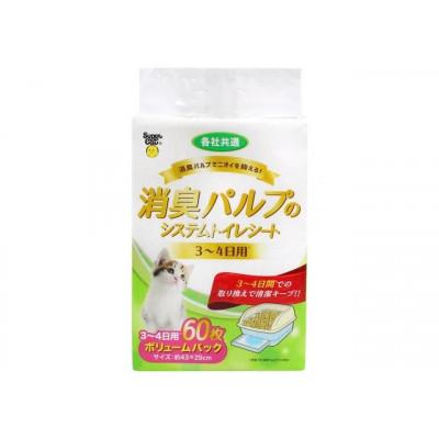 Super Cat Салфетка для кошачьего туалета UNICHARM 3-4 дневная антибактериальная 60шт
