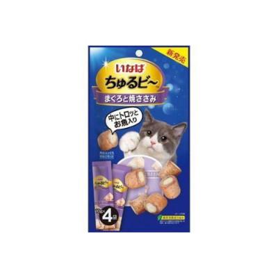 Inaba лакомство для кошек в виде запечённых трубочек с начинкой на основе желтоперого тунца и курицы,10гр х 4шт