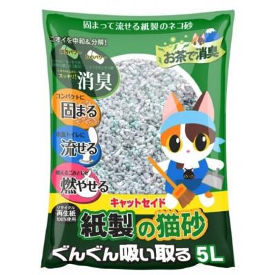 Catseido Бумажный наполнитель с экстрактом зеленого чая для кошачьего туалета, 5л.