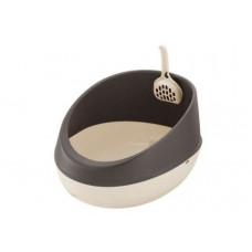 Richell Туалет для кошек полукруглый 36 × 47 × 24,5H (см) коричневый