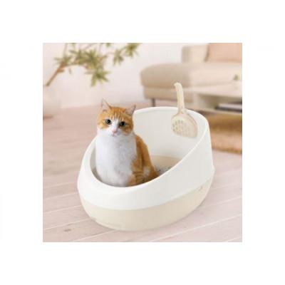 Купить в Красноярске Richell Туалет для кошек полукруглый 36 × 47 × 24,5H (см) белый