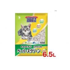 For Cat Наполнитель бумажный комкующийся с зеленым индикатором аромат кипариса 6,5л