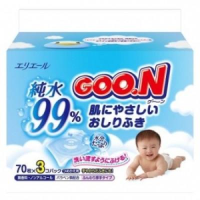 Goon Салфетки влажные для младенцев (запасной блок) 70шт*3 купить в Красноярске по цене 499 руб.