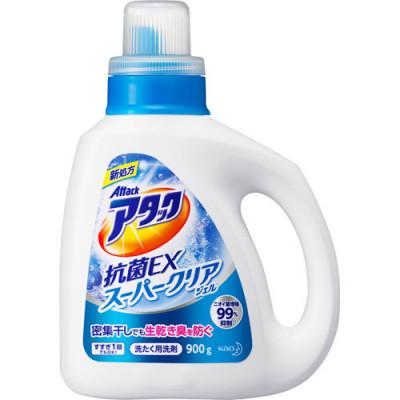"""Kao """"Attack"""" ЕХ Super Clear Высокоэффективный гель для стирки белья с антибактериальным эффектом с ароматом зелени, бутылка 900мл купить в Красноярске по цене 550 руб."""